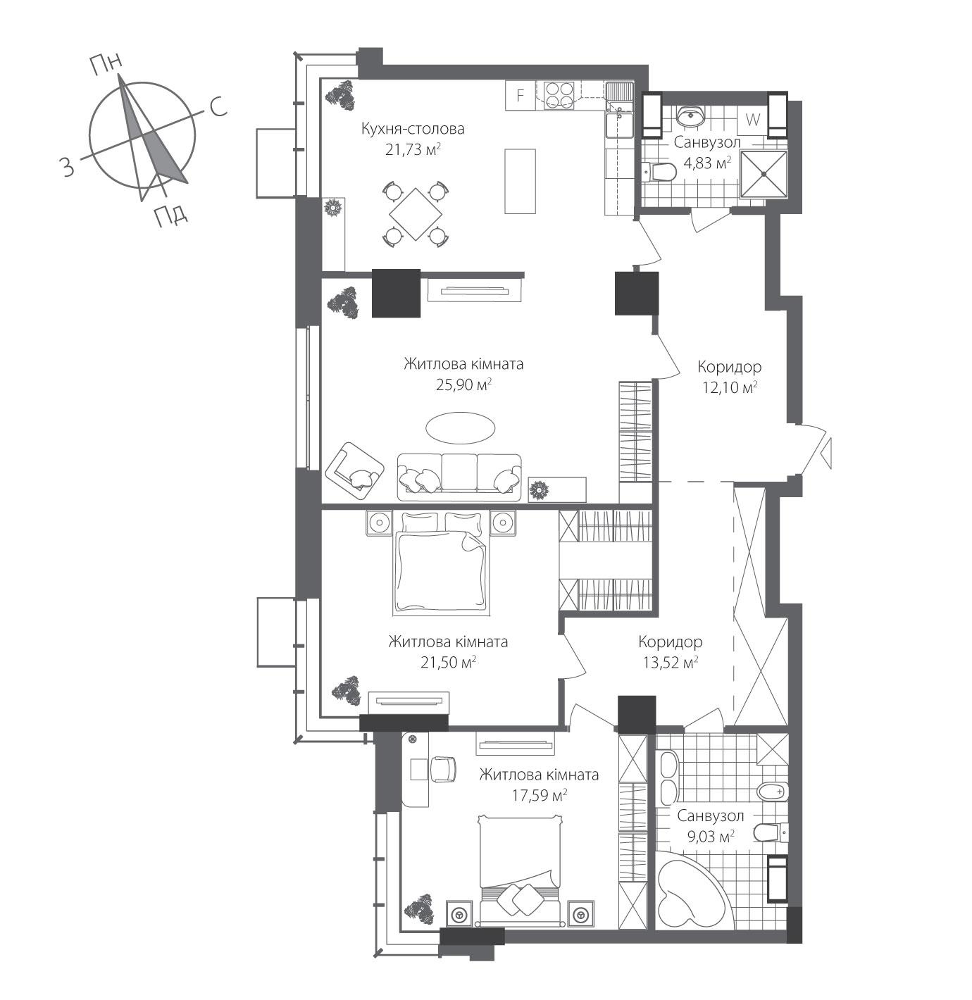 Номер квартиры №1305, Дом 8, Этаж 13, Полная площадь 126,20