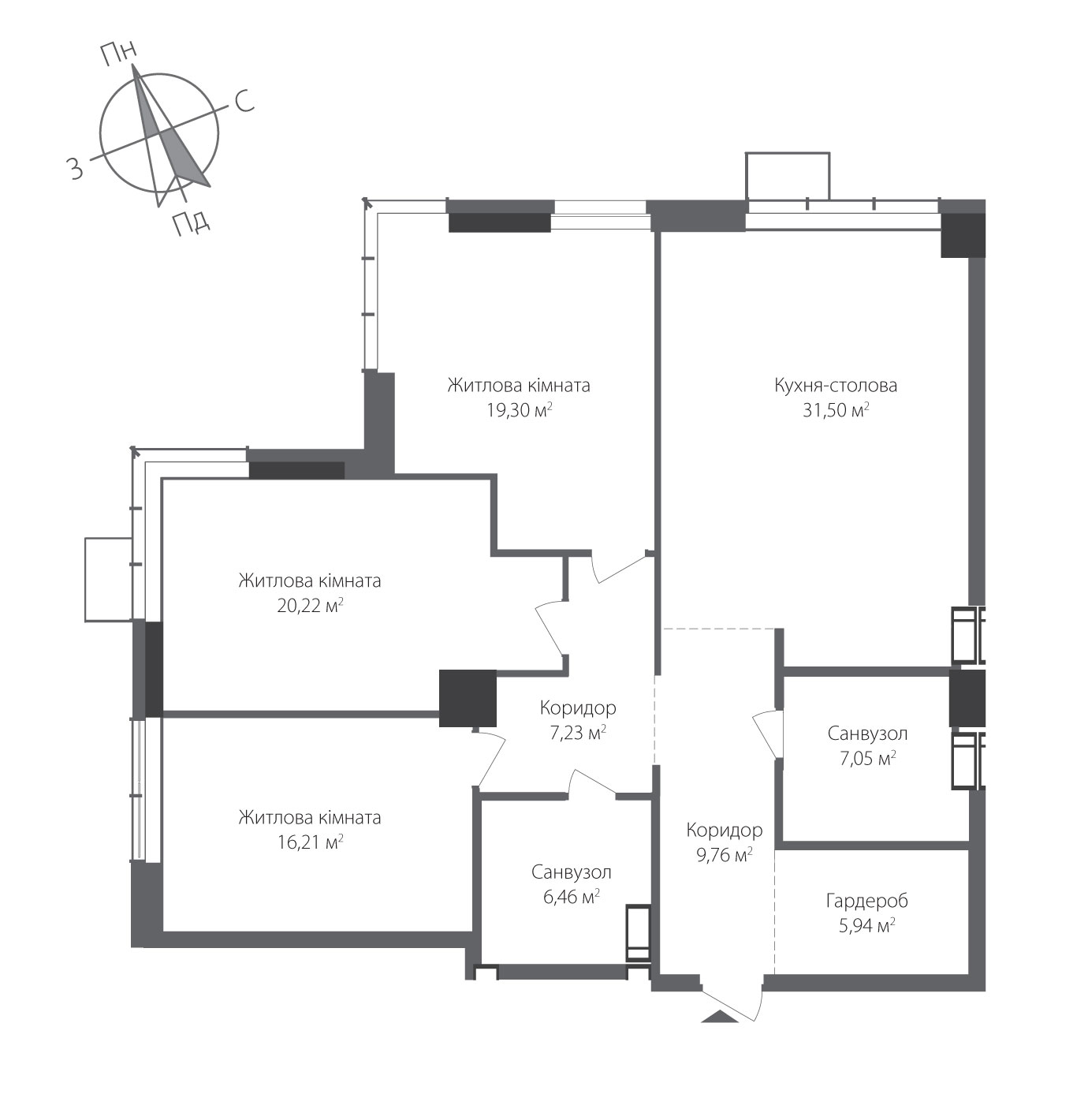 Номер квартири №0706, Будинок 8, Поверх 7, Повна площа 123,66