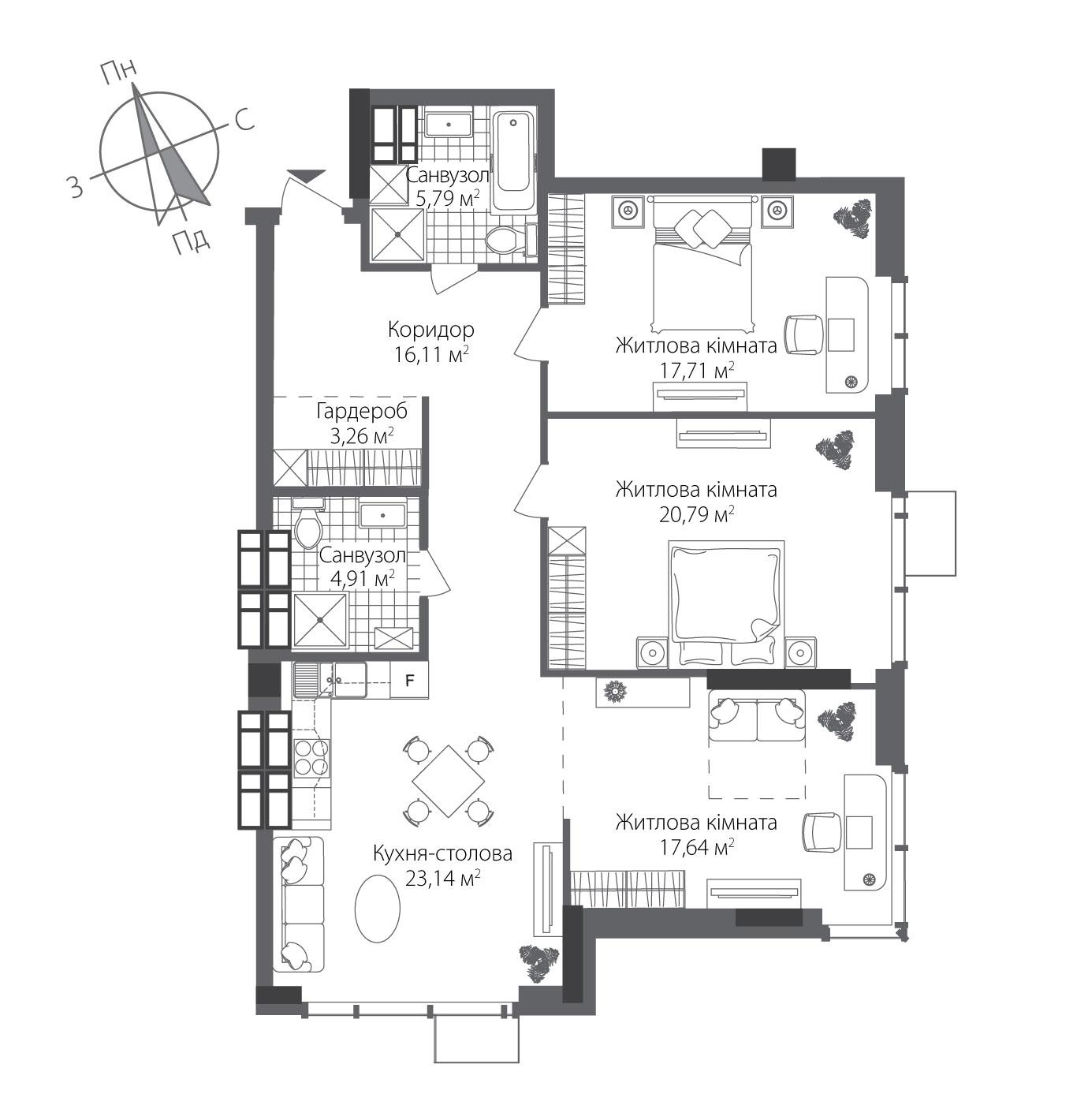 Номер квартири №1802, Будинок 8, Поверх 18, Повна площа 109,34
