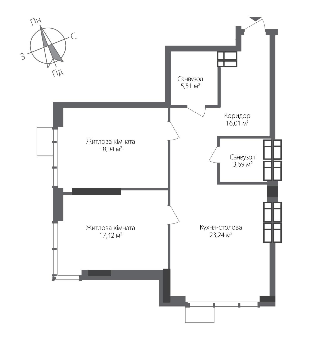 Двухкомнатная квартира в ЖК RiverStone Номер квартиры №23, Дом 8, Этаж 23, Полная площадь 84,00