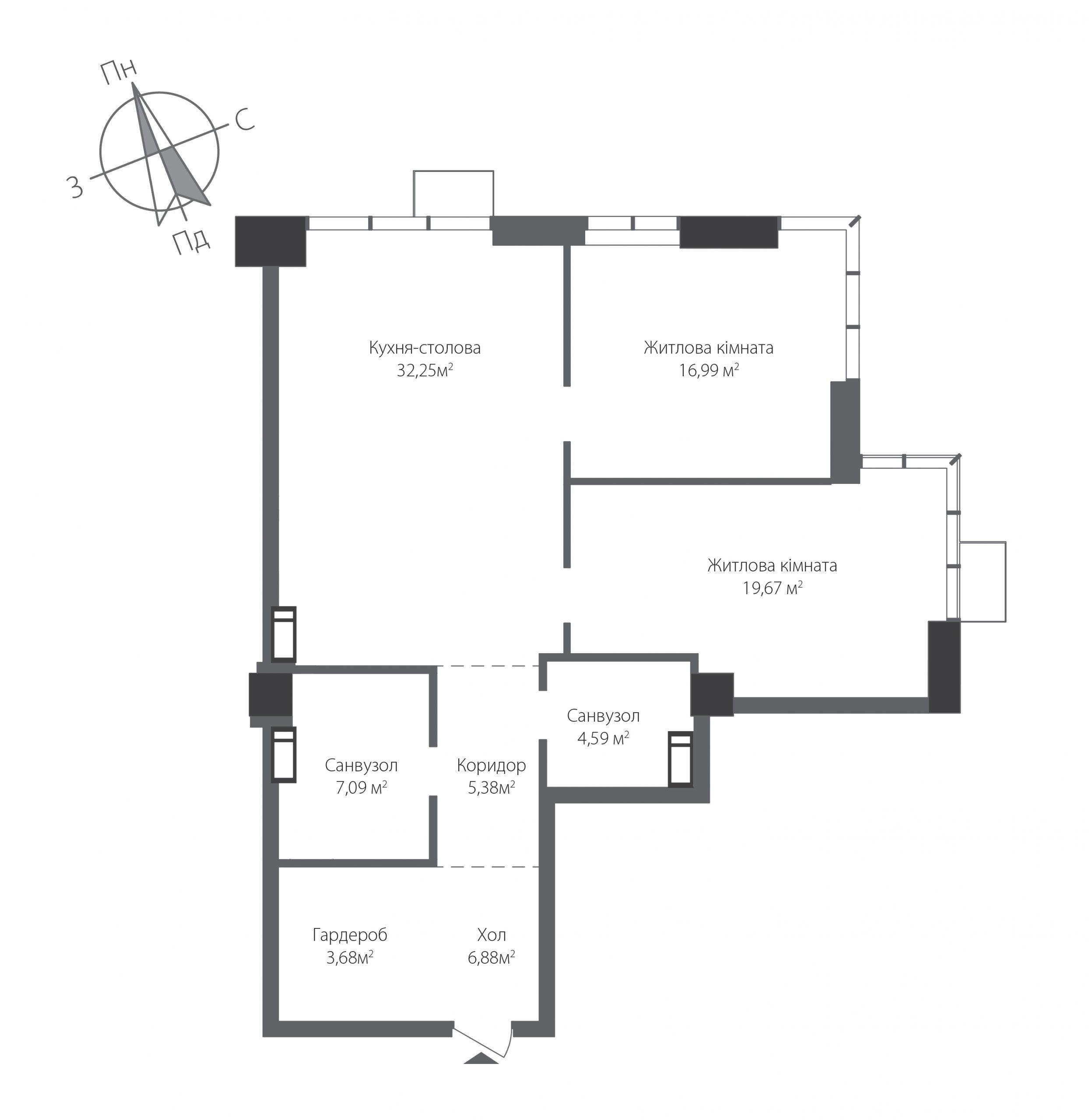 Двокімнатна квартира в ЖК RiverStone Номер квартири №16, Будинок 9, Поверх 16, Повна площа 96,53