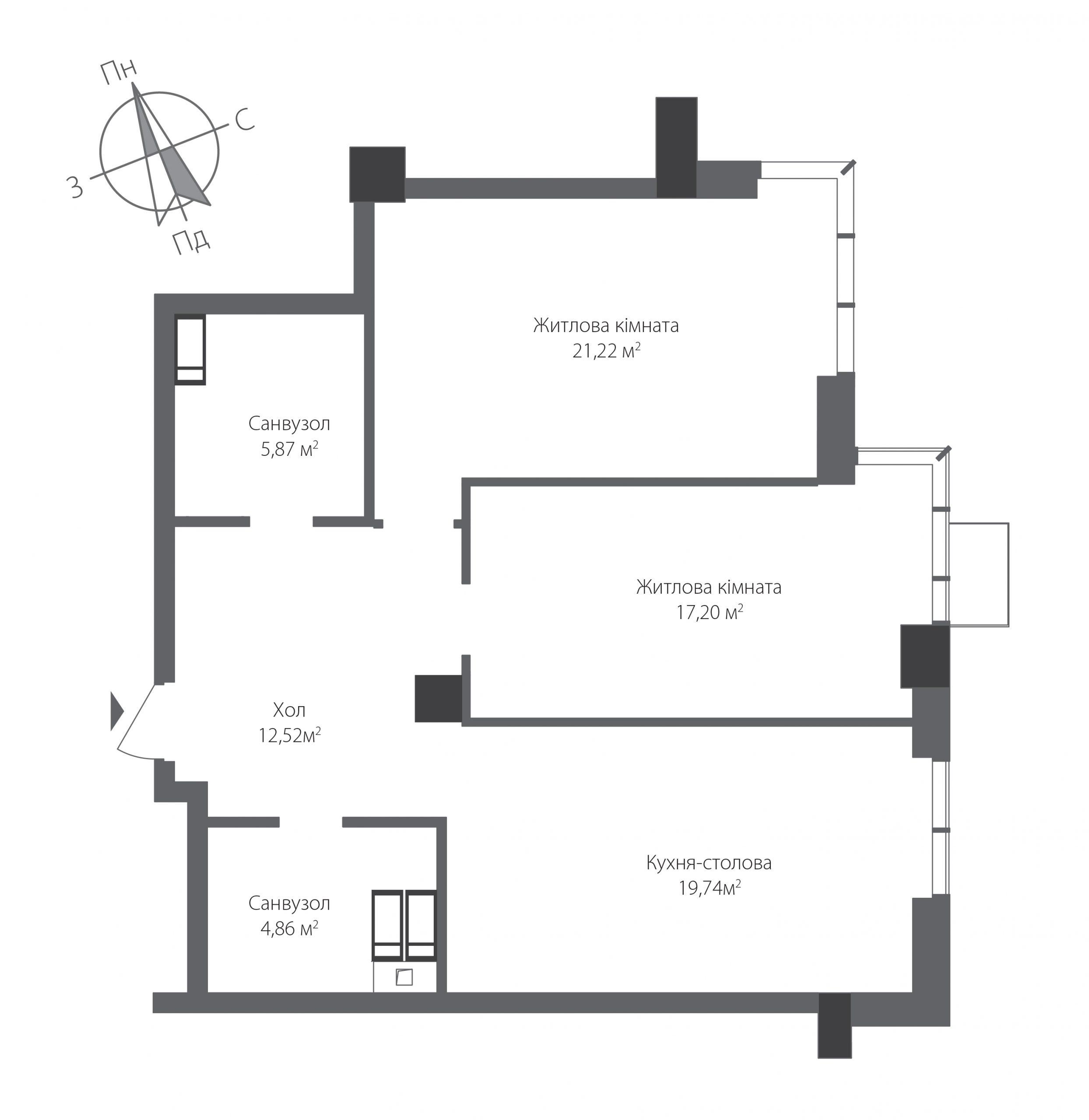 Двухкомнатная квартира в ЖК RiverStone Номер квартиры №16, Дом 9, Этаж 16, Полная площадь 81,41
