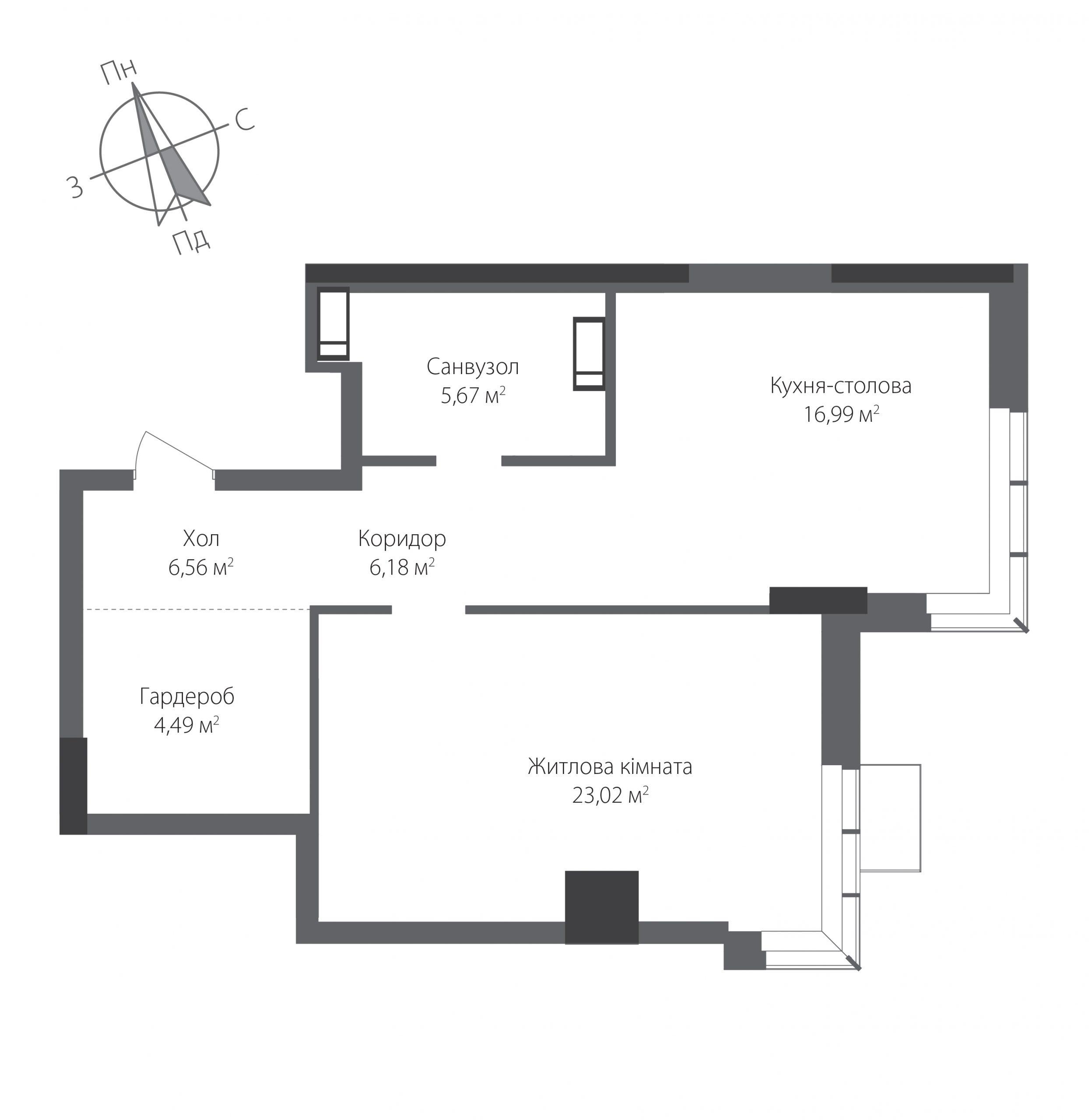 Номер квартири №1201, Будинок 9, Поверх 12, Повна площа 62,91