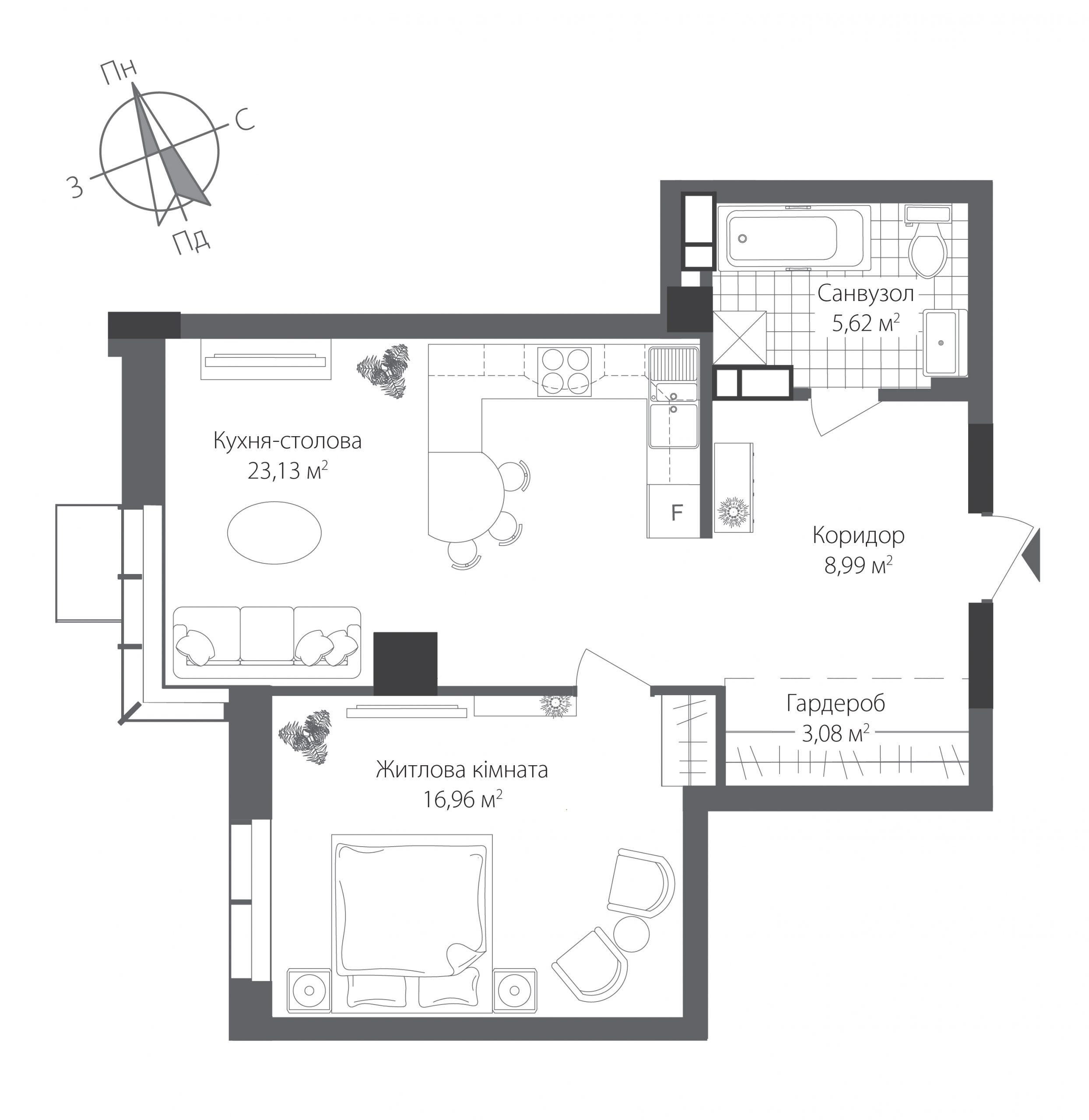 Номер квартиры №1504, Дом 9, Этаж 15, Полная площадь 57,78