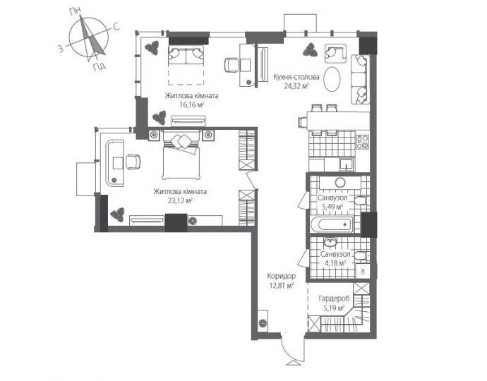 Готові квартири в Будинку №7 Житлового Комплексу RiverStone, Номер квартири 0202, Будинок 7, Поверх 2, Площа: 91,27 м2