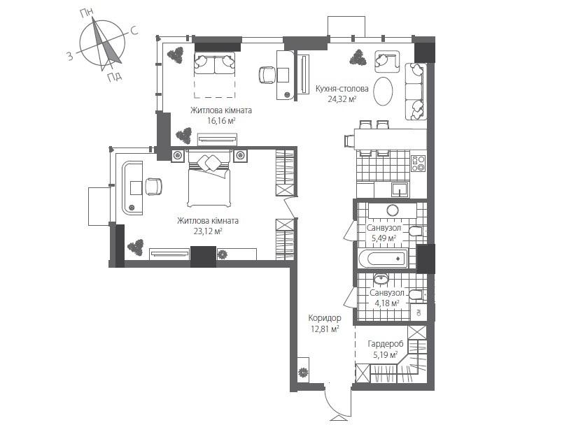 Номер квартиры №0203, Дом 7, Этаж 2, Полная площадь 92,28
