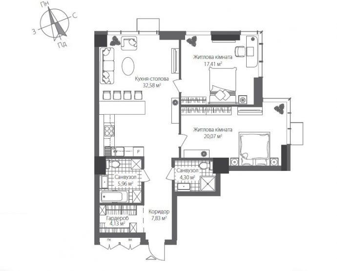 Готові квартири в Будинку №7 Житлового Комплексу RiverStone, Номер квартири 0203, Будинок 7, Поверх 2, Площа: 92,28 м2