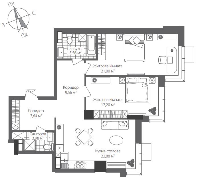 Номер квартири №0301, Будинок 8, Поверх 3, Повна площа 87,82
